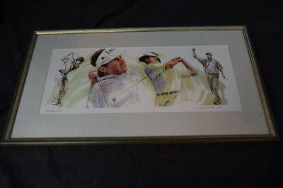 Framed Fred Couples 21/500 Signed Print by J.L.Hilbert