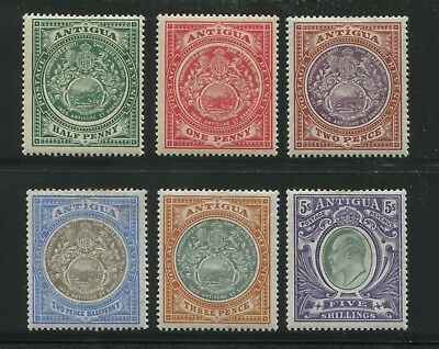1903 Antigua Postage Stamps #21-25 & 30 Mint Hinged Very Fine Original Gum