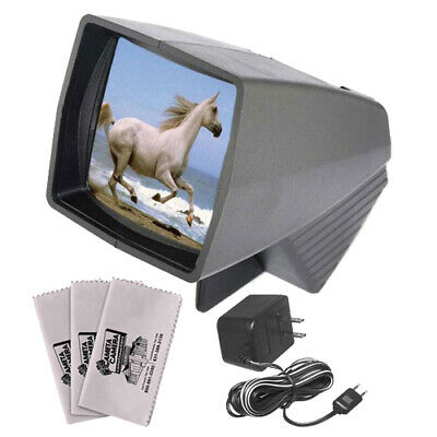 Pana-Vue 1 Lighted 35mm 2x2 Slide Film Viewer with AC Adapter & Cleaning Cloths