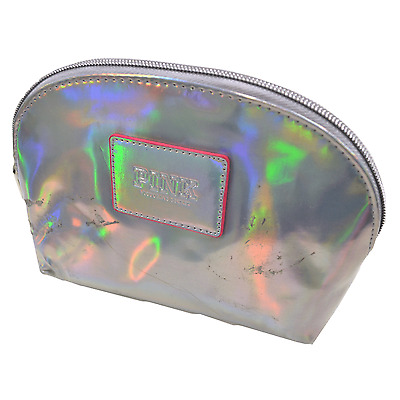Victoria's Secret Pink Cosmetic Bag Silver Holographic Makeup Case Nwt Damaged
