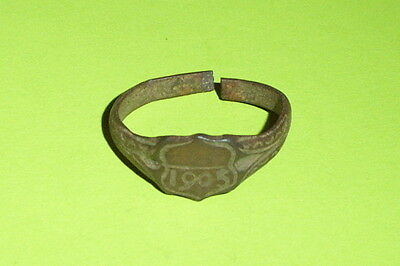 Authentic Antique FINGER RING 1905 AD engraved European jewelry old US size 10.5