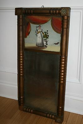 Antique Reverse Painted Mirror Federal Period Original Glass Beautiful Woman