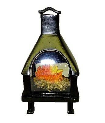 Outdoor Patio Deck Chiminea Fireplace with Flames for Dollhouse Miniature Garden