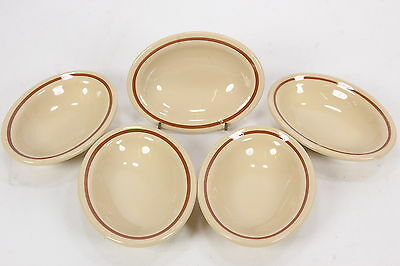 "5 Shenango Restaurant China Oval Bowl Bakers Beige W/ Brown Band 6 5/8"" x 4 1/4"""