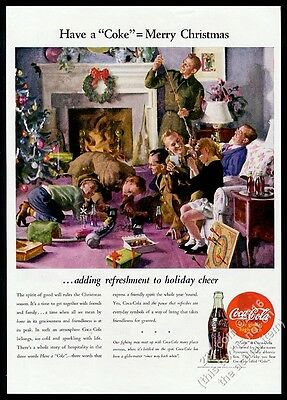 1944 Coke US Army soldier home for Christmas Coca-Cola vintage print ad