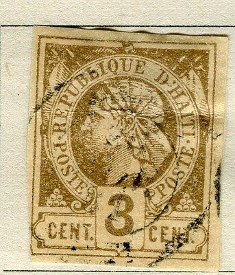 HAITI;  1881 early classic Liberty issue Imperf  used 3c. value