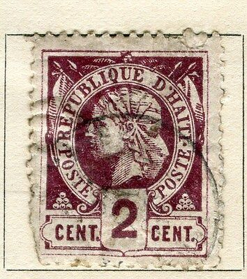 HAITI;  1882 early classic Liberty issue perf  used 2c. value, flaws