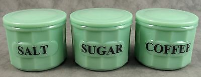 Jadeite Green Glass Salt Sugar Coffee Box Jar Canister 3 Pc Set ~Column Design~