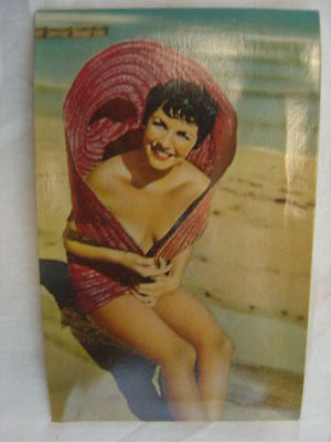 Vintage 1950s Postcard Squeaky Pin Up Girl w/ Big Sun Hat 761003