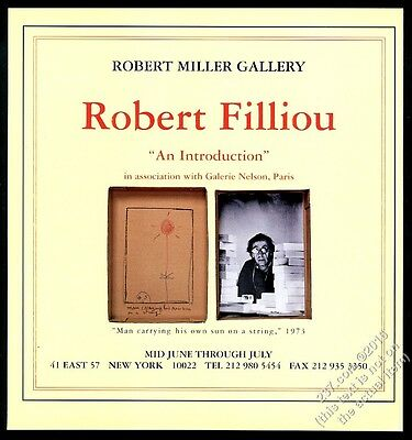 1998 Robert Filliou photo and art NYC gallery show vintage print ad