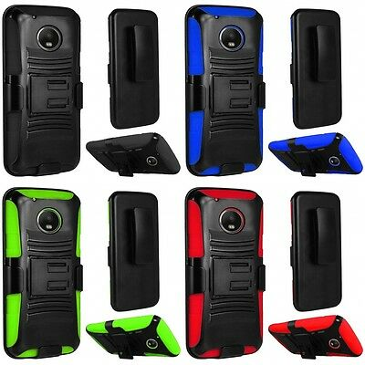 For Motorola Moto G5 Plus Heavy Duty Rugged Stand Belt Clip Holster Case Cover