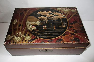 ANTIQUE ORIENTAL CHINESE JAPANESE LACQUER WRITING SLOPE BOX with FITTED INTERIOR