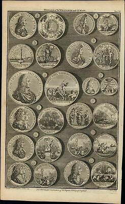 Medals of King William Queen Anne 1747 British Numismatic Medal Basire print