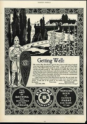 Pabst Milwaukee Knight Beautiful Castle 1896 antique Harpers advertisement print