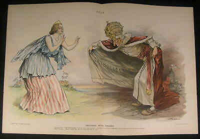 Catholic Lure Targeting School Children Pope 1895 antique color lithograph print