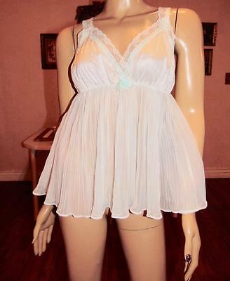 Vintage Pleated Chiffon & Lace Babydoll Nightgown, Med-Bust 36
