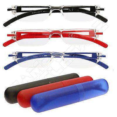 Ultra Lightweight Compact Reading Glasses Spectacles - Travel Case +2.5 + 3.5