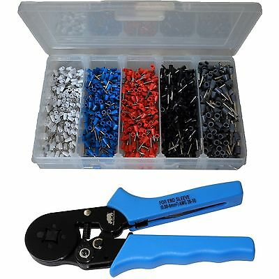1000 Piece Bootlace Ferrule Kit + Self Adjusting Crimper Crimping Tool Taiwan