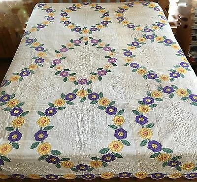 Antique Vintage Hand Quilted Quilt 80X96 Fan Applique Floral Flowers Stunning