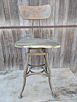 Vintage Industrial Stool Chair UHL Steel Toledo Adjustable 1930s
