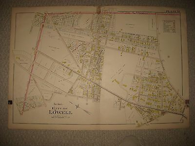 Antique 1896 Ward 1 Lowell Massachusetts Handcolored Map Detailed Rare Nr