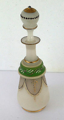 Antique/vintage Enameled Hand Painted Blown Glass Decanter