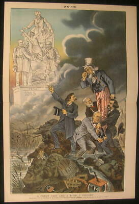 Great Past Pitiful Present Uncle Sam Whiskey 1885 antique color lithograph print