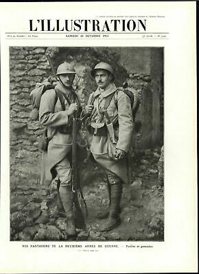 French Infantry Rifleman Grenadier Ruins 1915 World War I vintage historic print