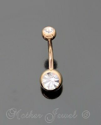 14K Rose Gold Triple Plated Double Simulated Diamond Belly Button Navel Ring