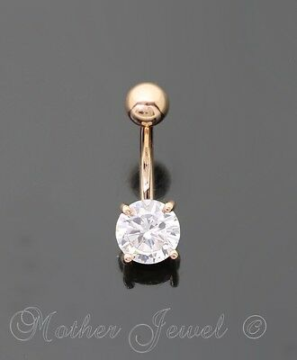 14K Rose Gold Triple Plated Clear 7Mm Simulated Diamond Belly Button Navel Ring