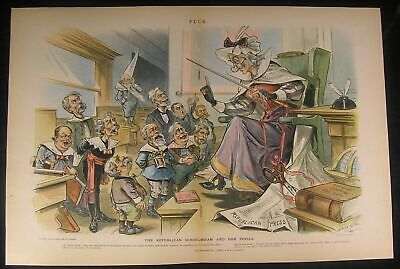 Republican Party Candidacy Teachers Pet 1895 antique color lithograph print