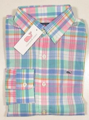 Vineyard Vines Boys L/S Bahama Breeze Chipping Green Plaid Whale Shirt