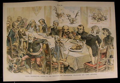 Destitute Thanksgiving Disappoint Politician 1887 antique color lithograph print