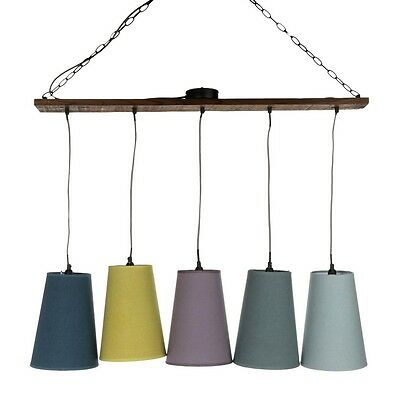 Paris Prix - Lampe Suspension Bois 5 Têtes Multicolore