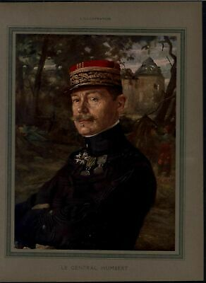 General Humbert Leader Eighth Army World War I vintage 1915 color portrait print
