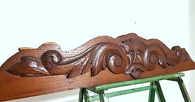 Hand Carved Wood Pediment Antique French Green Man Salvaged Mount Cornice Crest