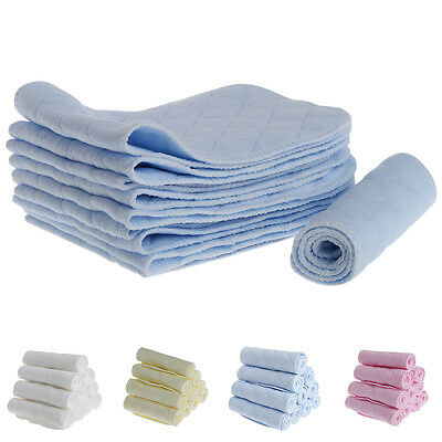 10 Pcs Baby Diaper Insert Nappy Liner Breathable Absorbent Cotton Cloth 3 Layer