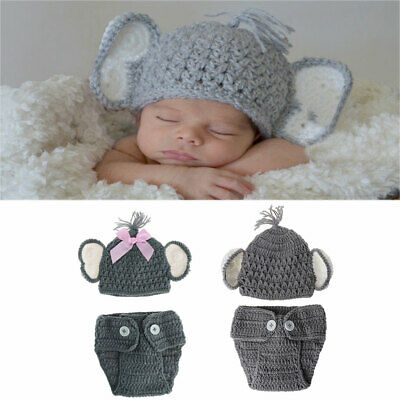 Newborn Baby Elephant Costume Knitted Cap+Pants Photo Photography Props Unisex