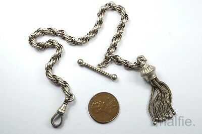 ANTIQUE ENGLISH SILVER ALBERTINA BRACELET with TASSLE / T BAR  c1890