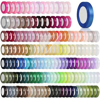 25/50Yards Craft Satin Ribbon 3/6/10/15/20/25/38/50mm Bow Wedding Decoration MG