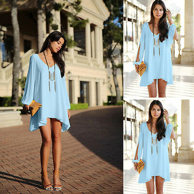Women Lady's S Chiffon Daily Casual Long Sleeve Dress For Summer Party Sky blue