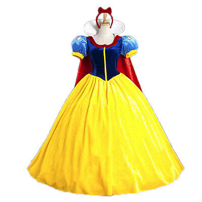 Set Femme Adulte Robe Bandeau Blanche Neige Princess Cosplay Halloween Cadeau NF