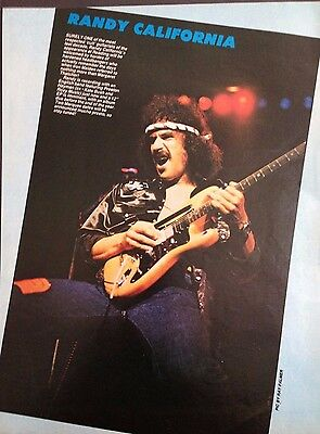 Randy California / The Spirit - 1 Page Poster From Vintage Kerrang! Magazine.