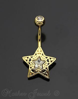 14K Yellow Gold Triple Plated Filigree Star Simulated Diamond Belly Navel Ring