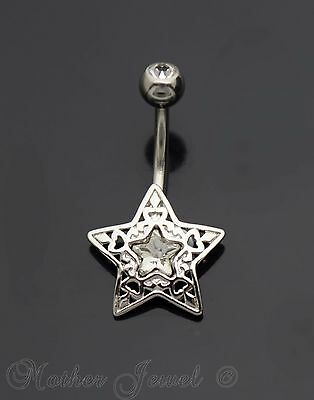 14G Silver Surgical Steel Filigree Star Simulated Diamond Belly Navel Ring