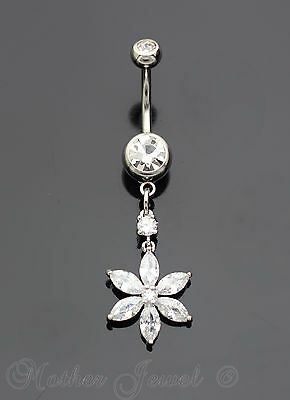 14G Silver Surgical Steel Flower Dangle Simulated Diamond Belly Navel Ring
