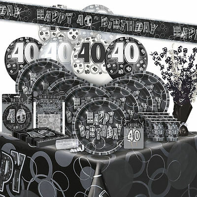 AGE 40 - Happy 40th Birthday BLACK & SILVER GLITZ -Party Range, Banners & Napkin