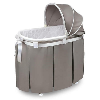 Badger Basket Wishes Oval Bassinet with Full Length Skirt - Gray