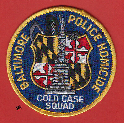 Baltimore Maryland  Police Homicide Cold Case Squad  Shoulder Patch