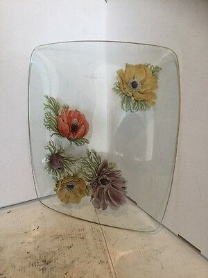 vtg Chance Fiesta glass &red roses tray plate, dish, gilt edge, hand made